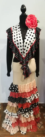Flamenco dance skirt and top with shawl  |  Conjunto Canastero Beige con mantoncillo