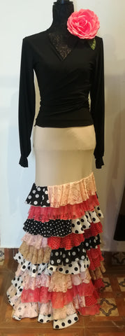 Flamenco dance skirt and top  |  Conjunto Canastero Falda y Blusa Beige