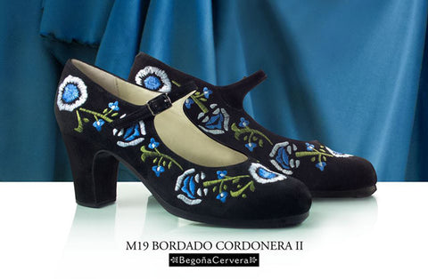 Flamenco dance shoes Begoña Cervera Correa Bordado II Model |  Zapato baile flamenco Begoña Cervera Modelo Correa Bordado II