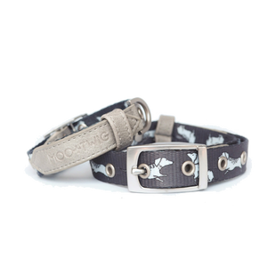 Moo+Twig Vegan Leather Dog Collar - The Twiggy (Charcoal)