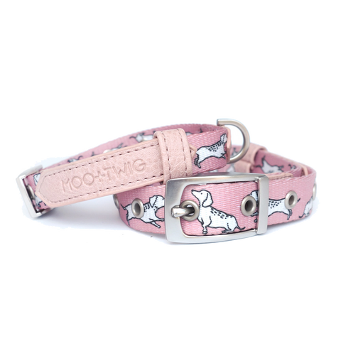Moo+Twig Vegan Leather Dog Collar - The Twiggy (Blush)