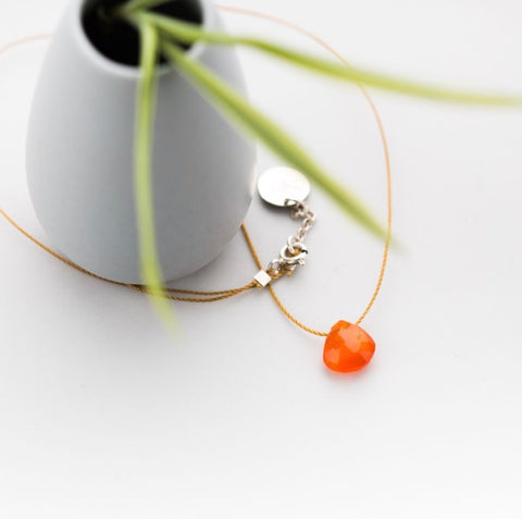 Orange Carnelian  Briolette on Cord