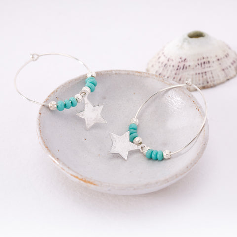 Silver Hoop Earrings with Turquoise beads and Silver Star