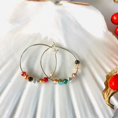 Sunset Sparkle Hoop Bead Earrings