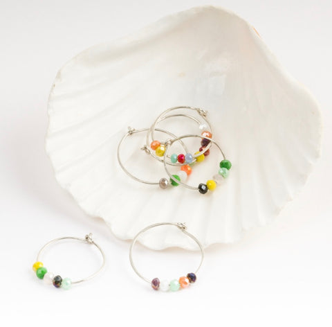 Hoop Rainbow Bead Earrings