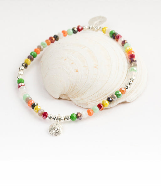 Rainbow Bead Tiny Sea Shell Bracelet