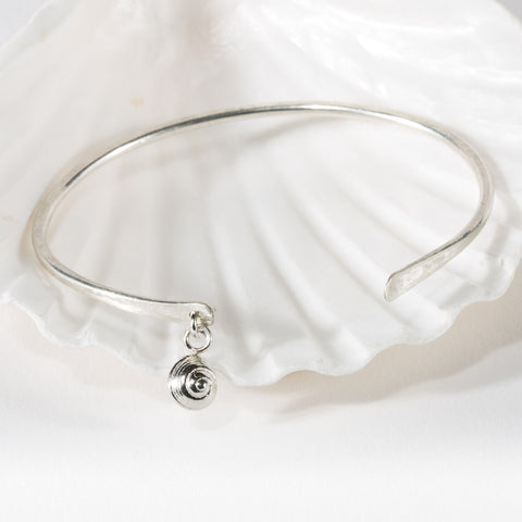 Cuff Bangle with tiny Snail Shell