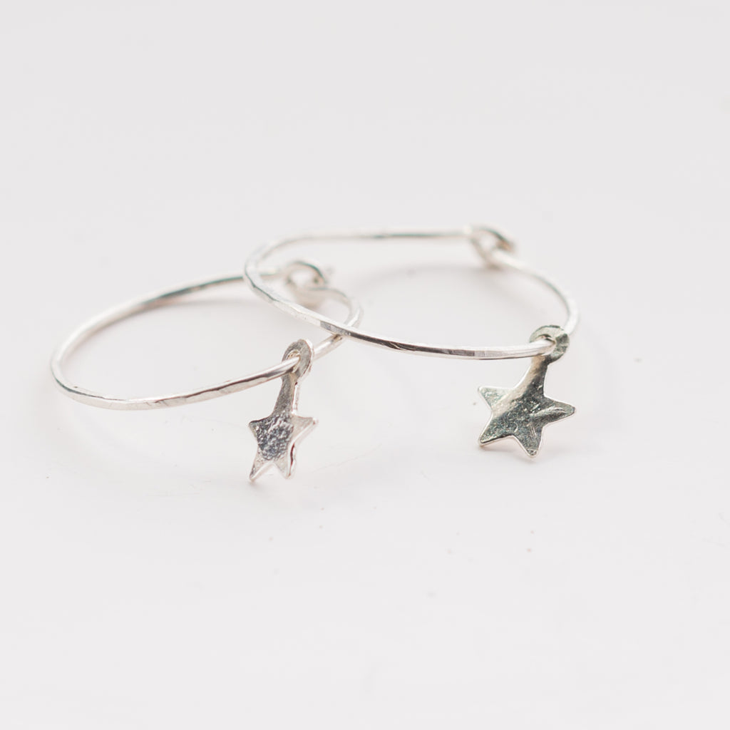 Tiny Star Skinny Hoop Earrings