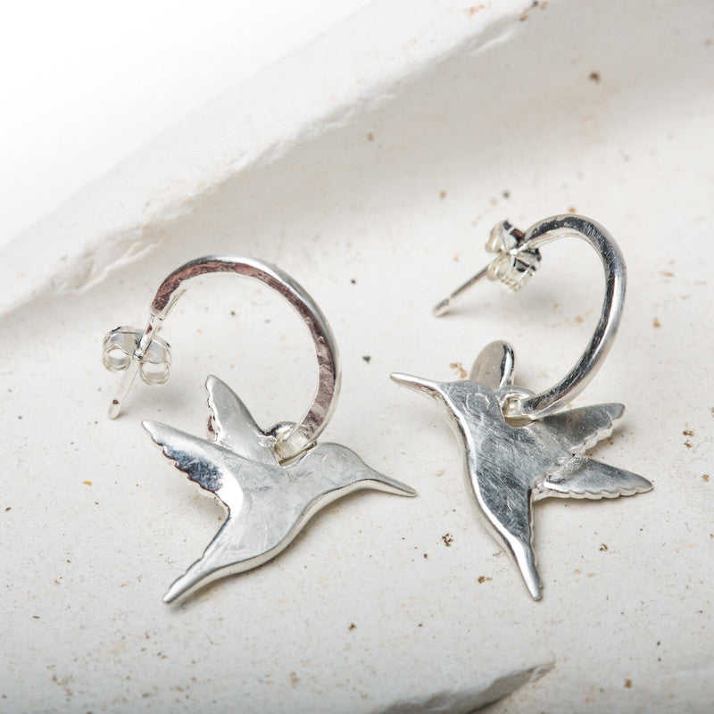 Hummingbird Hoop Earrings