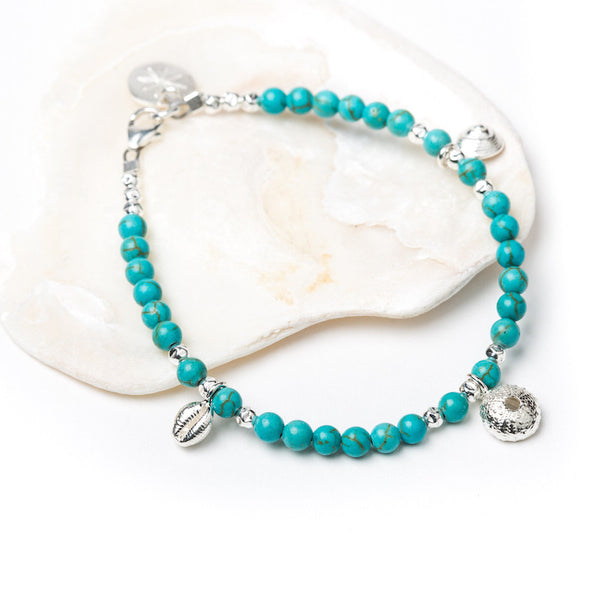 Salcombe Sea Shells on Semi Precious Stones Bracelet