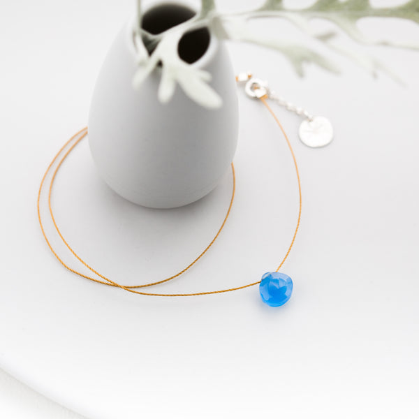 Blue Chalcedony Briolette on Cord