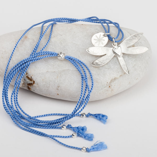 Dragonfly Heart Silk Necklace