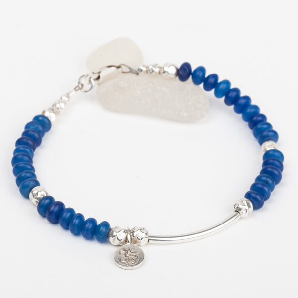 Blue Sea Glass & Charm Bracelet