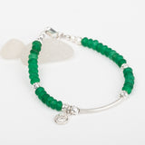 Green Sea Glass & Charm Bracelet