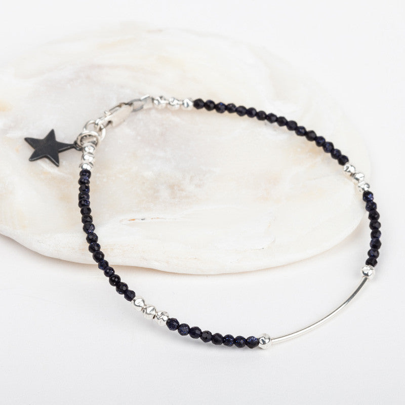 Fine Faceted Bar Bracelet & Star Charm
