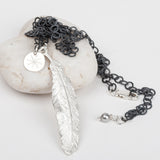 Feather on Oxidised Silver Circle Chain Necklace