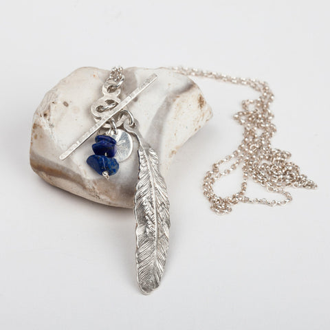 Feather & Lapis Long Necklace