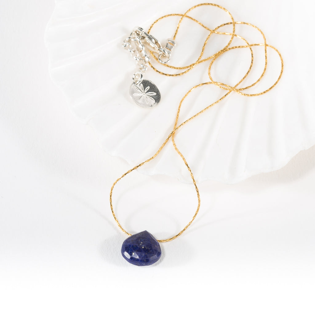 Lapis Lazuli Briolette on 14ct Rolled Gold