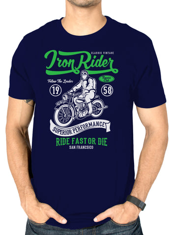 Funky Iron Rider navy blue printed T-shirt for men by socratees clothing