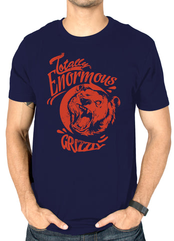 Grizzly navy blue printed t-shirt for men by socratees clothing