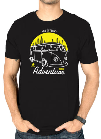 Men's black printed graphic t-shirt : Go Outside Adventure by socratees clothing