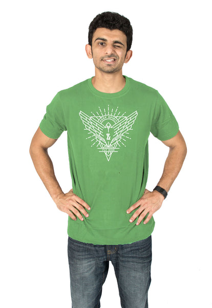 Mens' Free spirit green graphic T-shirt online byh socratees clothing. Shop for round neck half-sleeve t-shirts for men online at socratees.in