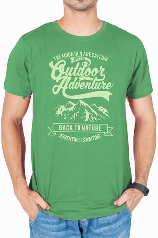 Men's cool Olive green Printed T-shirt Mountains are calling by socratees clothing
