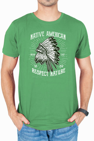 Men's respect nature army Green printed Graphic T-shirt by socratees clothing