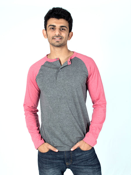 Melange Grey + Crimson Red Henley