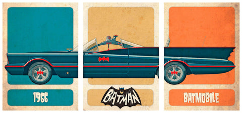 TRIPTYCH BATMAN CAR,(45x32 cm. x3). BTMO-1-2-3.