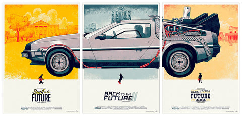 TRIPTYCH, BACK TO THE  FUTURE CAR, (70x50 cm. x3). LG-BTF-1-2-3.