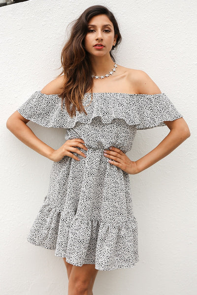 Victoria Spotty Off Shoulder Dress