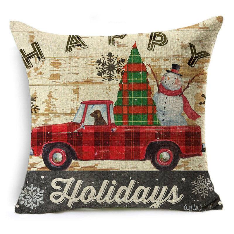 "Scatter Cushion, 17"" Plaid Pick Up Truck Snowman Dog"