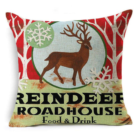 Scatter Cushion 'REINDEER ROADHOUSE' Retro Christmas