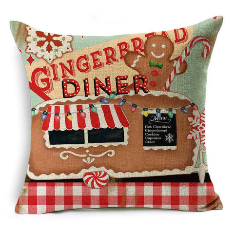 Scatter Cushion 'Gingerbread Diner' Retro Christmas