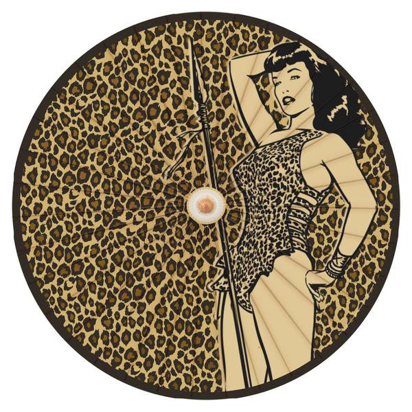 Bettie Bettie Page Animal Leopard Print Pin Up Parasol