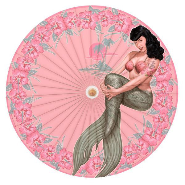 Bettie Page Mermaid Pin Up Parasol