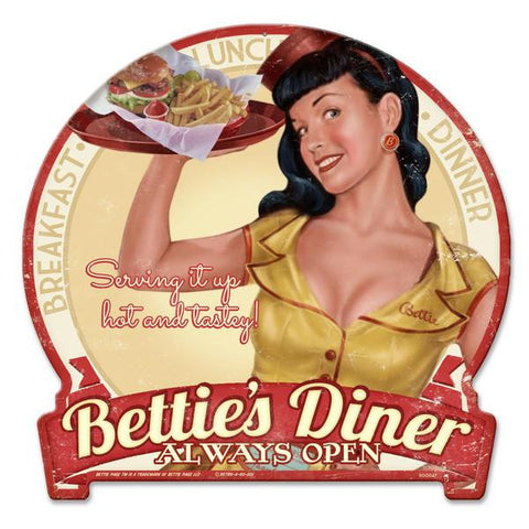BETTIE PAGE DINER  METAL SIGN