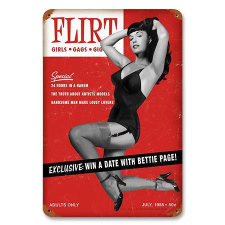BETTIE PAGE FLIRT  METAL SIGN