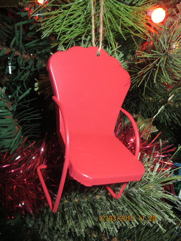 Micro Lawn Chair Christmas Ornament Red