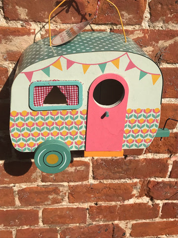 Retro Caravan Bird House Glamping Vintage Decor