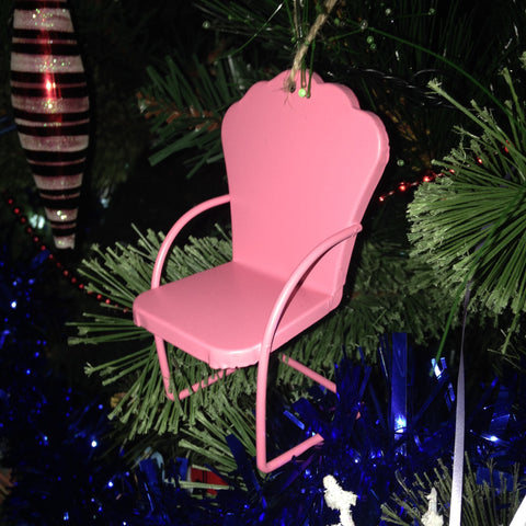Micro Lawn Chair Christmas Ornament Pink