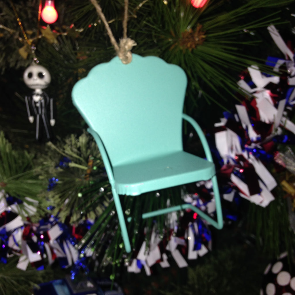 Micro Lawn Chair Christmas Ornament Green