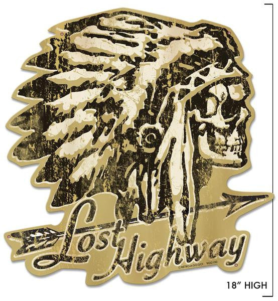 Lost highway sign metal sign laser cut sign indian sign native american indian chief sign head sign skeleton sign feathers arrow