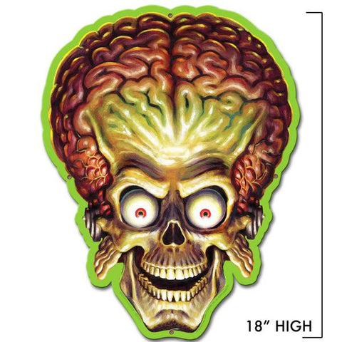 'Mars Attacks' Alien Invader Head Metal Sign