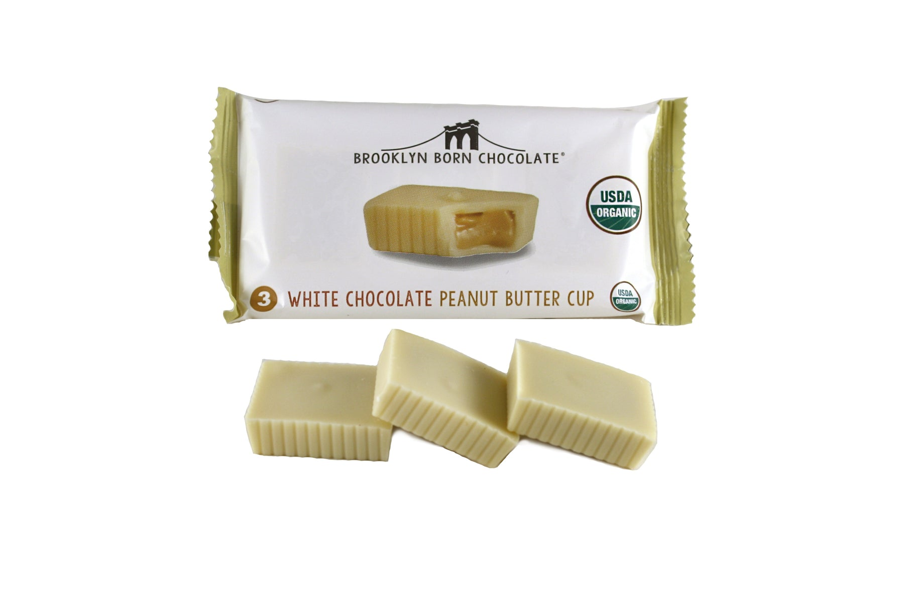 Buy Brooklyn Born Chocolate White Chocolate Peanut Butter Cups - Package of 3 at Pure Feast