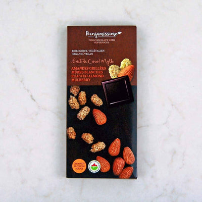 Benjamissimo Organic Roasted Almond Mulberry Coconut Milk Chocolate Bar at Pure Feast