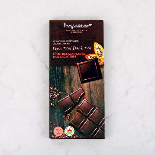 Benjamissimo Organic Raw Cacao Nibs 75% Dark Chocolate Bar at Pure Feast