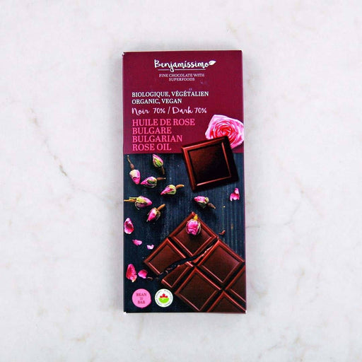 Benjamissimo Organic Bulgarian Rose Oil 70% Dark Chocolate Bar at Pure Feast