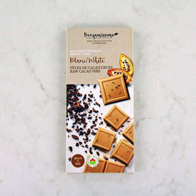 Benjamissimo Organic Raw Cacao Nibs White Chocolate Bar at Pure Feast